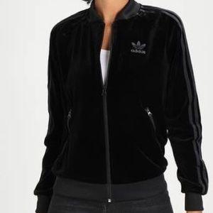 Adidas velour black tracksuit